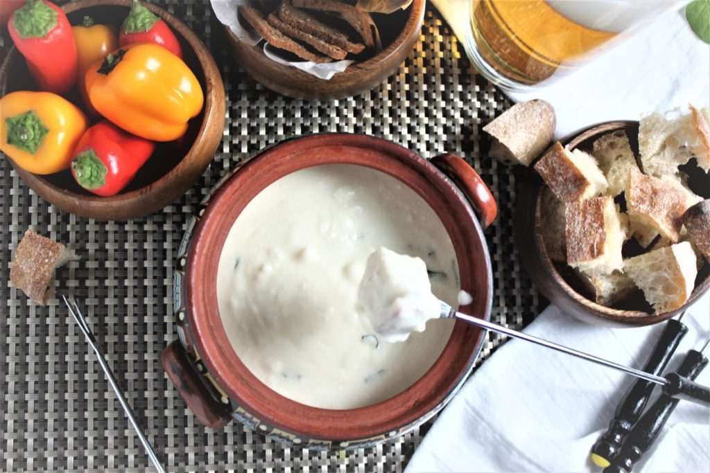Feta Cheese Beer Fondue with Pilsner