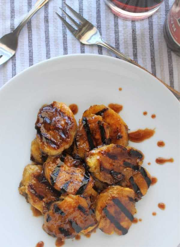 Beer glazed grilled plantains close up