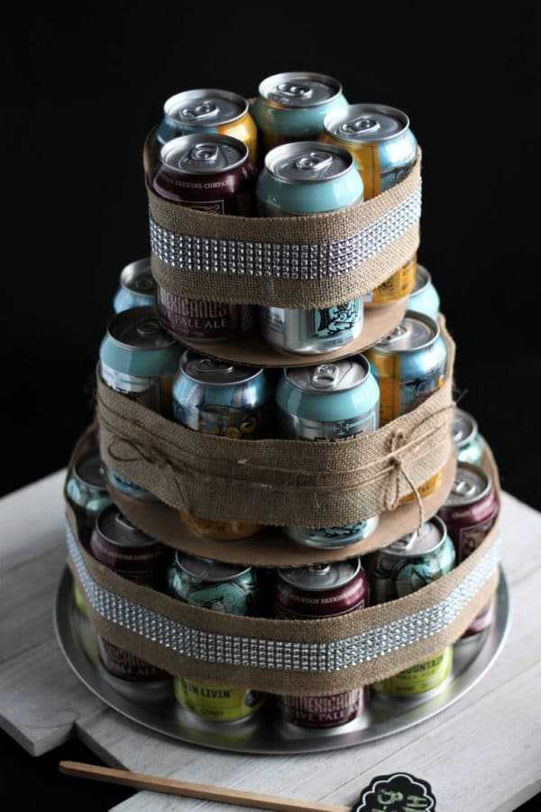 Craft Beer Cake Decorate with Ribbons