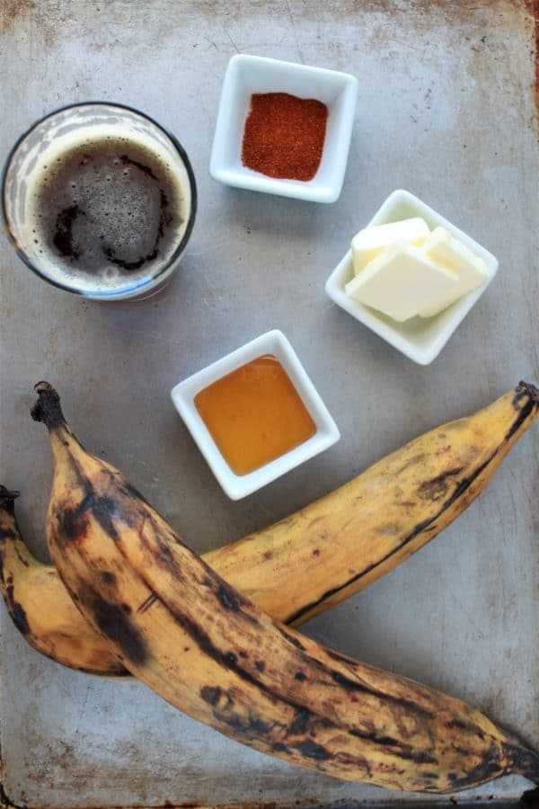 Ingredients for beer glazed grilled plantains