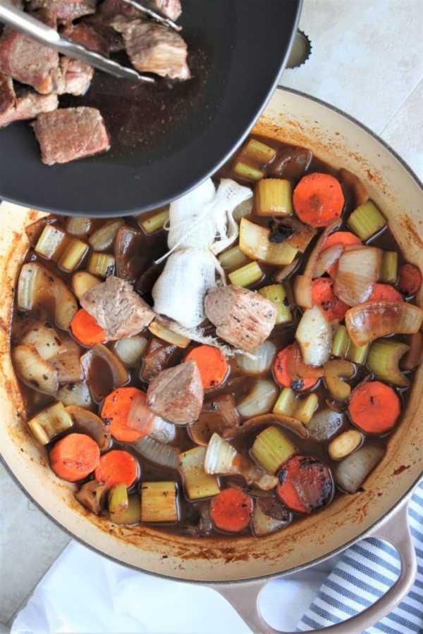 eer Braised Lamb Gyros Adding Meat to the Braising Liquid
