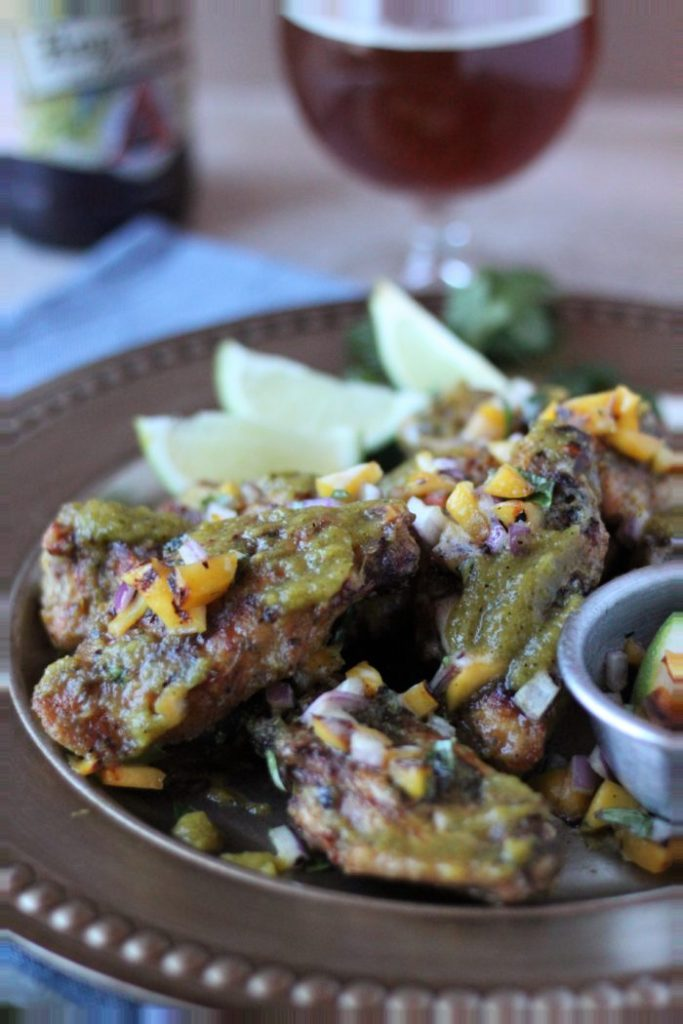 Charcoal Grilled Wings with IPA-Mango-Jalapeno Sauce