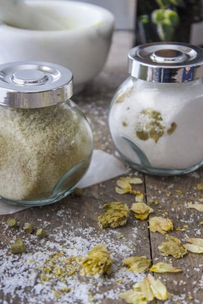 How to Make Hop Salt. Hops salt in jars, two ways.