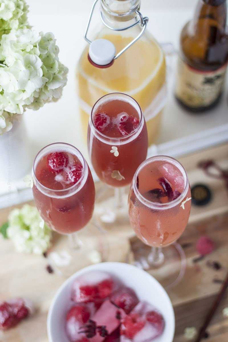 Beermosa with Raspberry and Hibiscus Ice Cubes