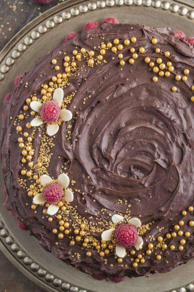Chocolate Beer Cake with Raspberry Brown Ale and Raspberries