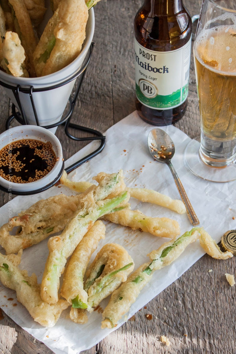 Beer Tempura Green Onions with Maibock Spring Lager and Soy & Sesame Dipping Sauce
