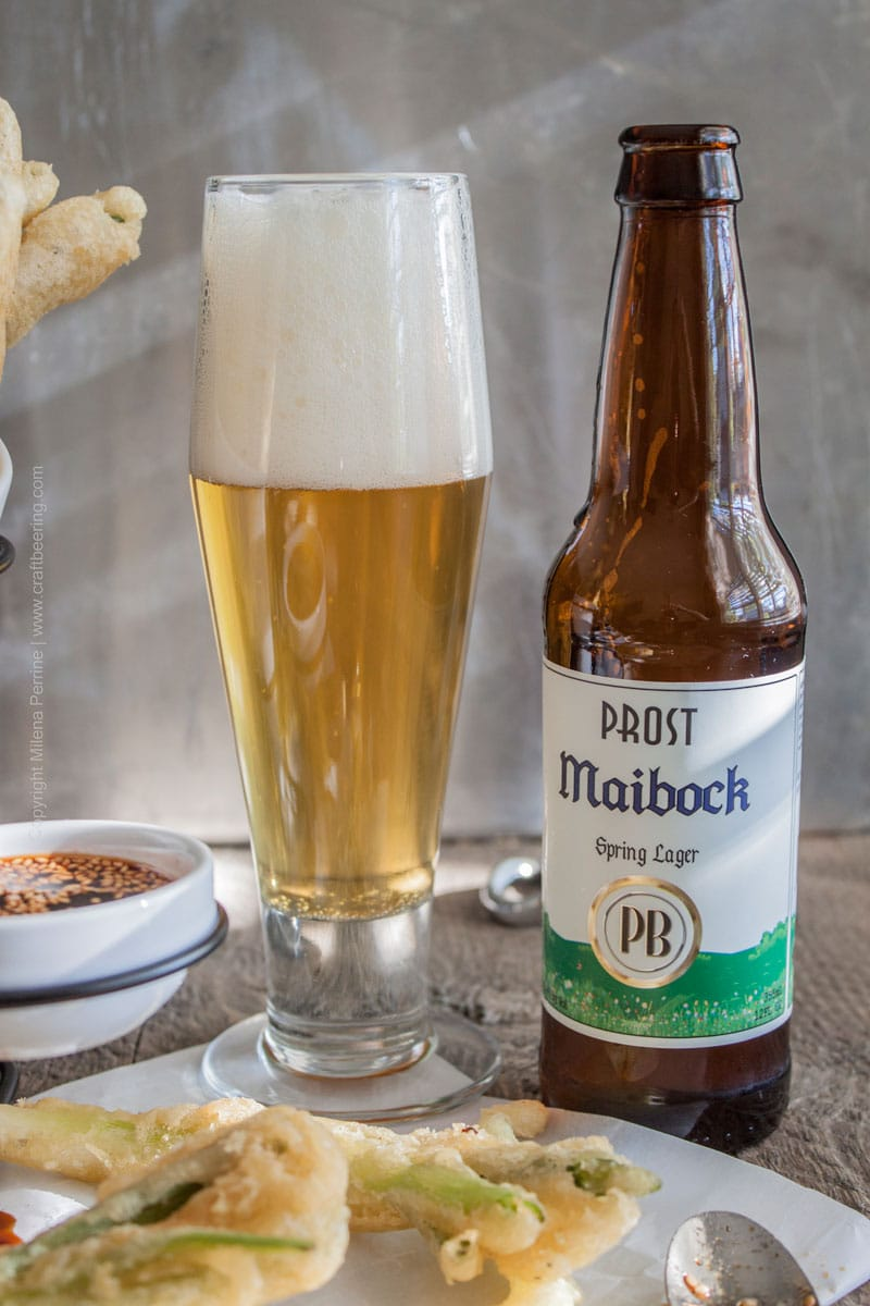 Prost Brewing Maibock and Beer Tempura Green Onions