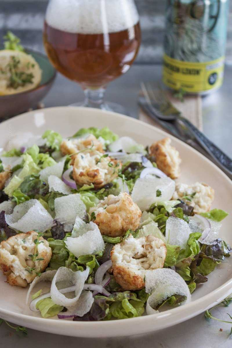 Asian Pear Salad with Pale Ale Dressing and Goat Cheese Fritters