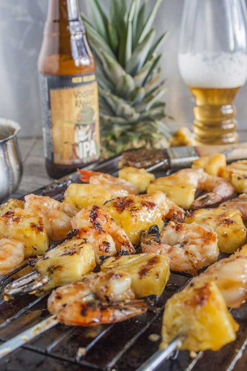 IPA teriyaki shrimp and pineapple skewers. Our grill was ecstatic we let it have a taste of beer teriyaki:)