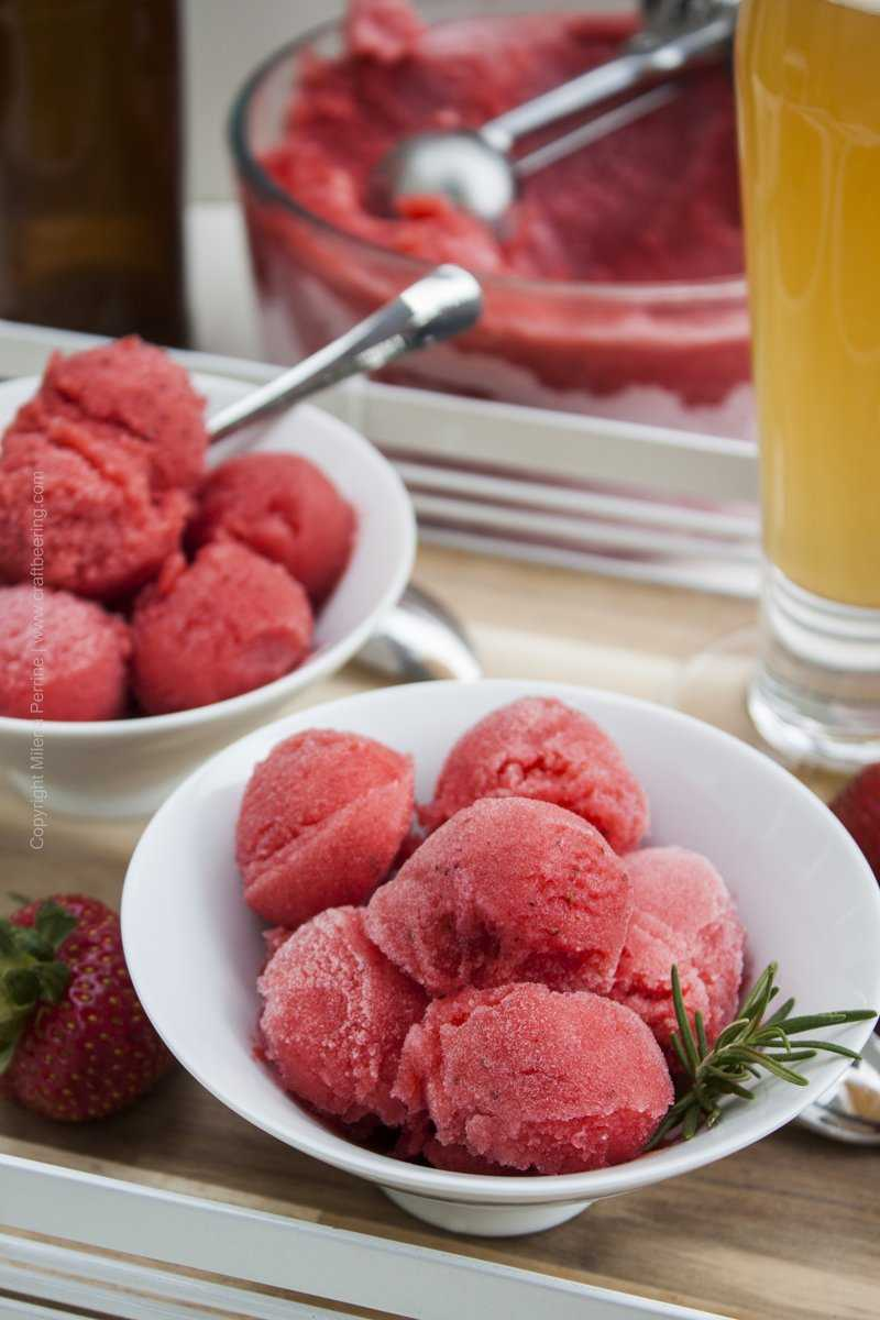 Ale strawberry sorbet with summer blonde ale.