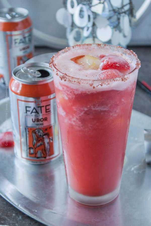 Strawberry Sorbet Gose Margarita. A frozen summer craft beer cocktail to enjoy all summer.