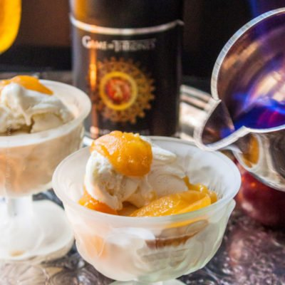 A Song of Ice & Fire – Golden Ale Poached Plums & Lemon Sorbet Flambe