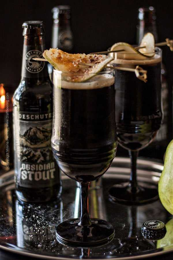 Dragonglass Cocktail with Obsidian stout, bruleed pear and a little something else...