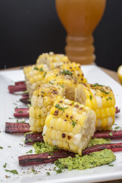 Grilled Swiss Chard & Corn Bites with Parsley Pesto
