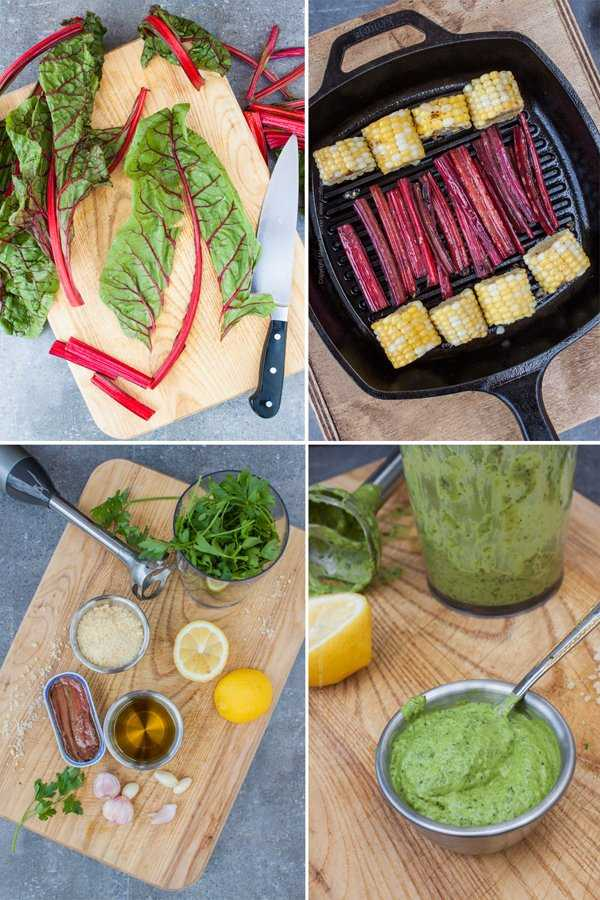 Grilled Swiss Chard and Corn Bites with Parsley Pesto Dip Steps