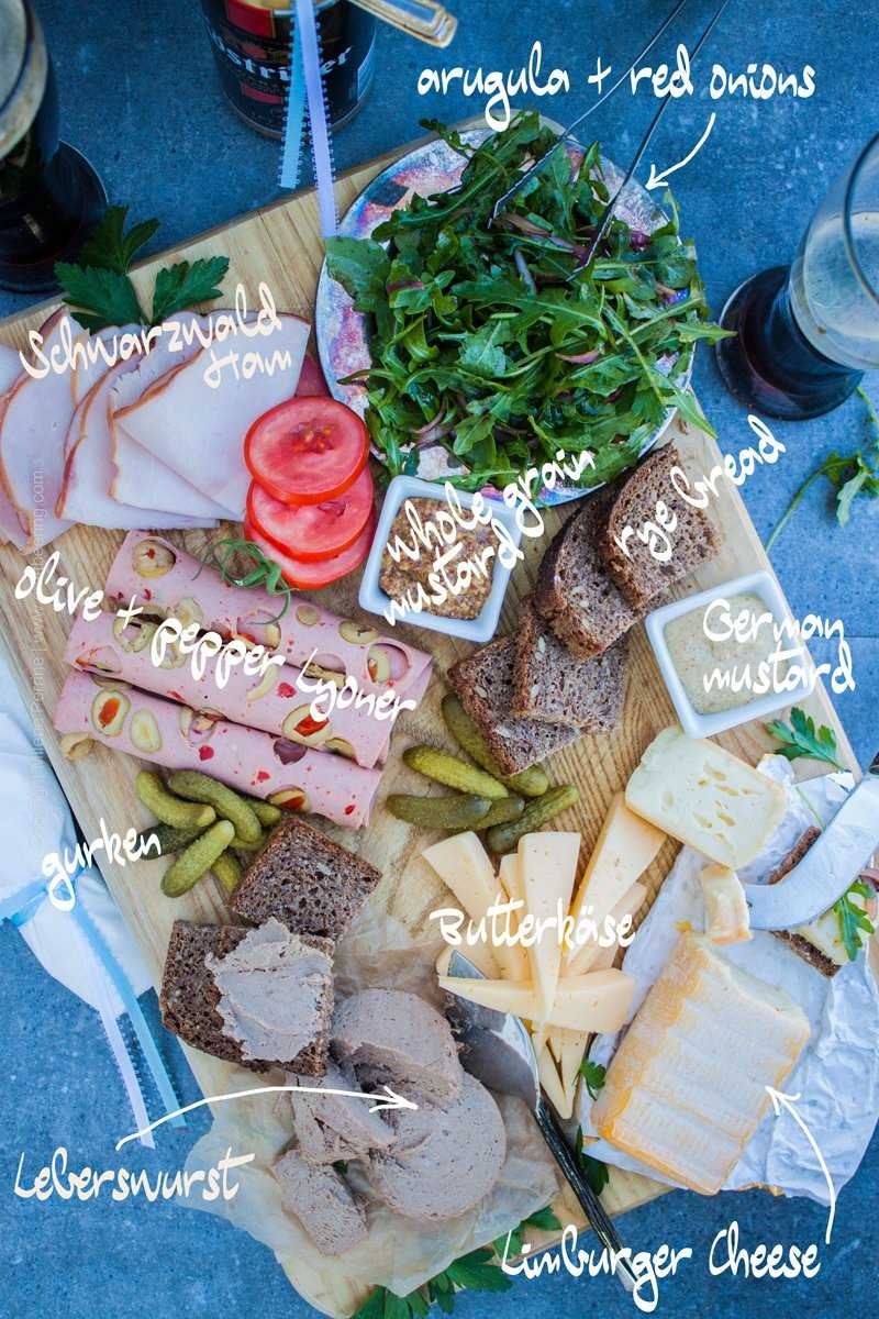 German Meat and Cheese Board. Popular German cold cuts and cheeses with gurken (duh), arugula, rye bread and mustard of course:)