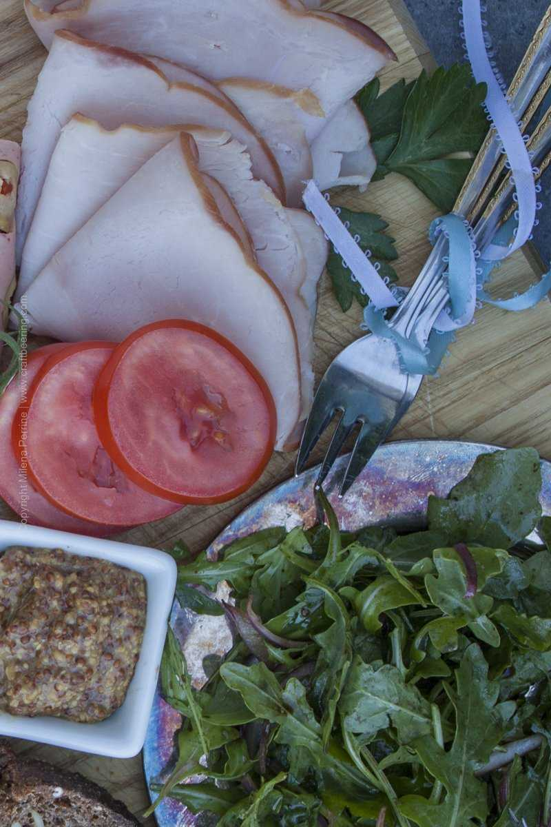 German Meat and Cheese Board - Schwarzwald Ham and arugula with red onions