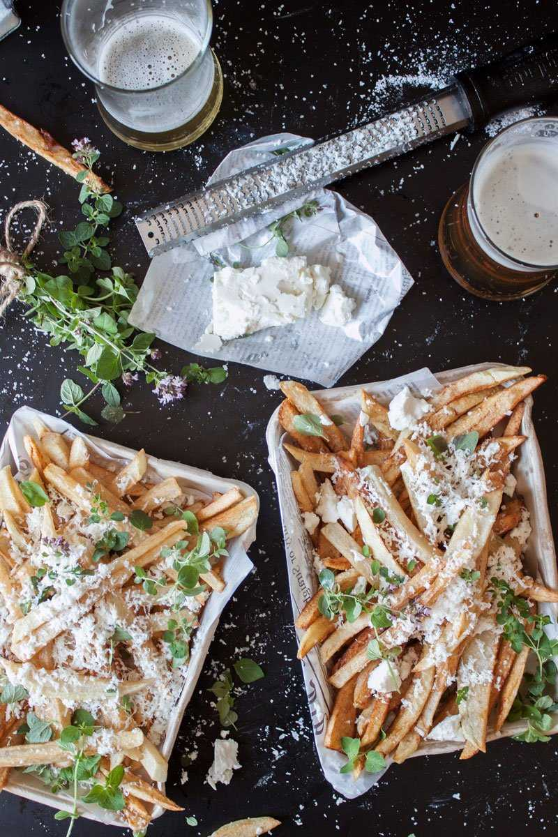 Hand cut fries with feta cheese and oregano