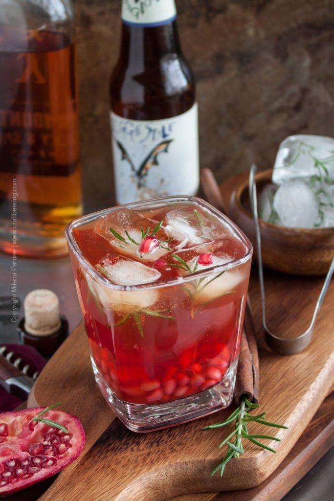 Bourbon, Pale Ale & Pomegranate Cocktail