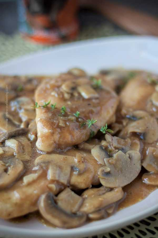 Chicken Beersala. Doppelbock based, gravy like sauce with mushrooms. #chickenbeersala #cookingwithbeer #beergravy