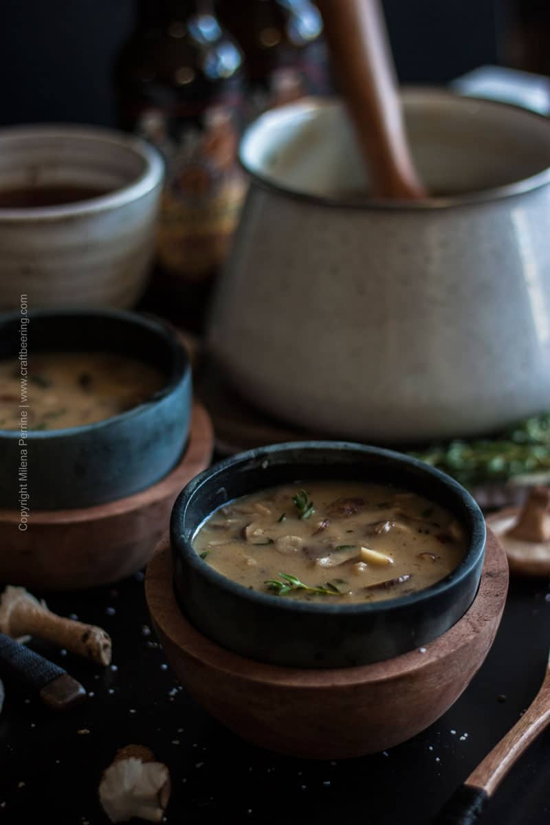 Creamy Triple Mushroom Beer Soup. Incredible earthy, deep flavors with a boost from Doppelbock. #beersoup #beermushroom #triplemushroom #creamymushroomsoup #mushroomsoup #cookignwithbeer #craftbeering