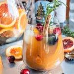 Winter Beer Sangria with Winter lager, rye whiskey and blood orange, #beersangria #winterbeersangria #christmasbeersangria