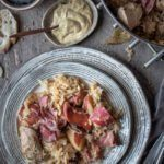 Alsatian baked sauerkraut with meat, aka Choucroute Garnie.