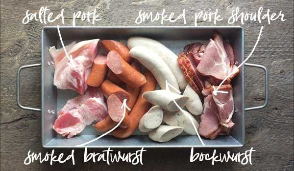 Smoked meats often used in Choucroute Garnie - Salted Pork, Smoked Pork Shoulder, Bockwurst and Smoked Bratwurst