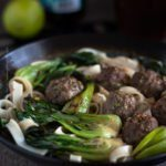 Beer Braised Baby Bok Choy with Chinese Five Spice Beef Meatballs. Choice of beer = bock lager. Bock braised bok choy:) #beerbraised #beerbraisedbokchoy #beerbraisedbabybokchoy #cookingwithbeer #beerandfood