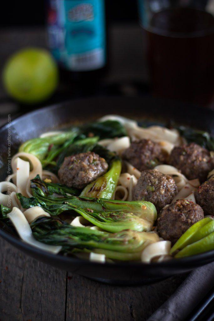 Bock Braised Baby Bok Choy & Beef Meatballs