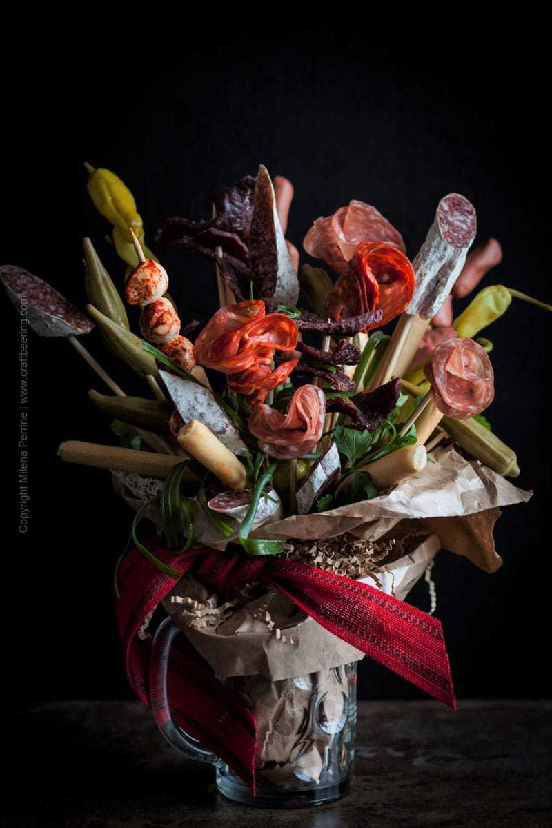 Charcuterie Bouquet. Salami flowers:) and bread sticks for your man. Or woman. A beer lover's dream gift. #beerlovergift #charcuteriebouquet #salamibouquet #ediblebouquet #manflowers