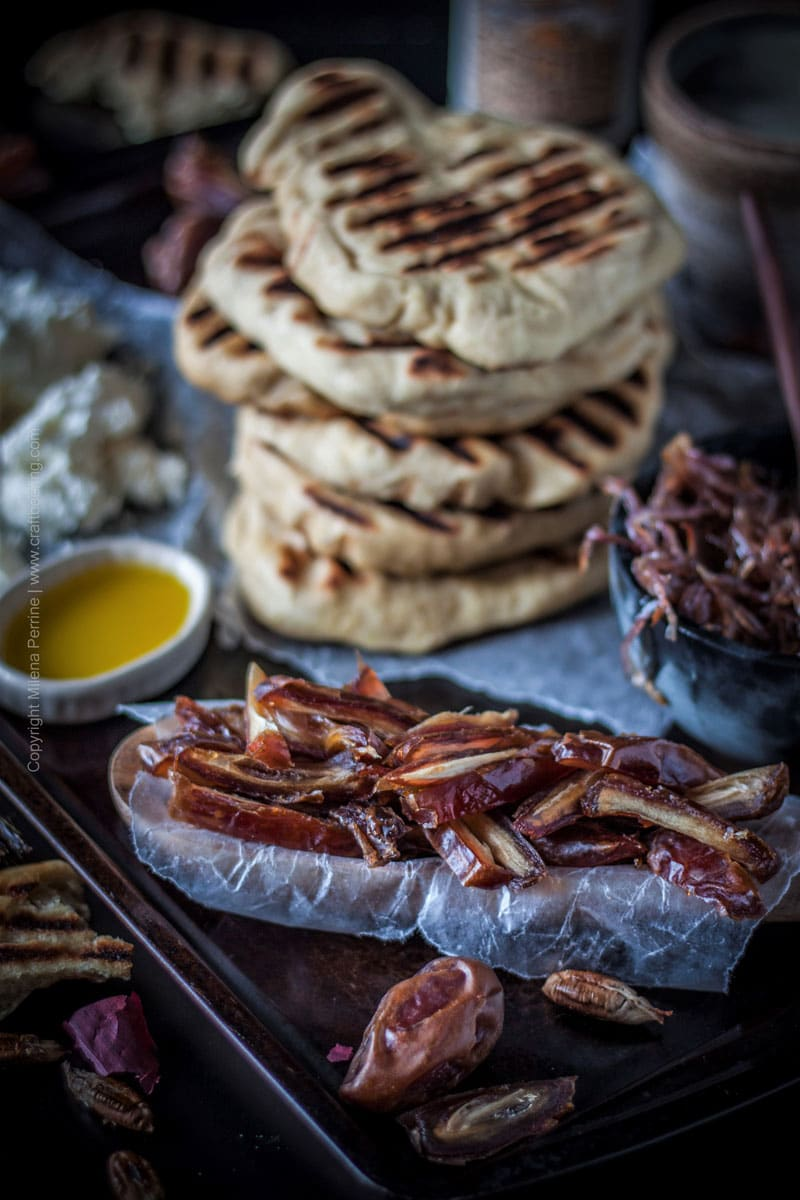 Soft Beer Flatbread with Dates, Caramelized Onions and Goat Cheese #softflatbread #beerflatbread #flatbreadrecipe #caramelizedonions #dates #beerbread