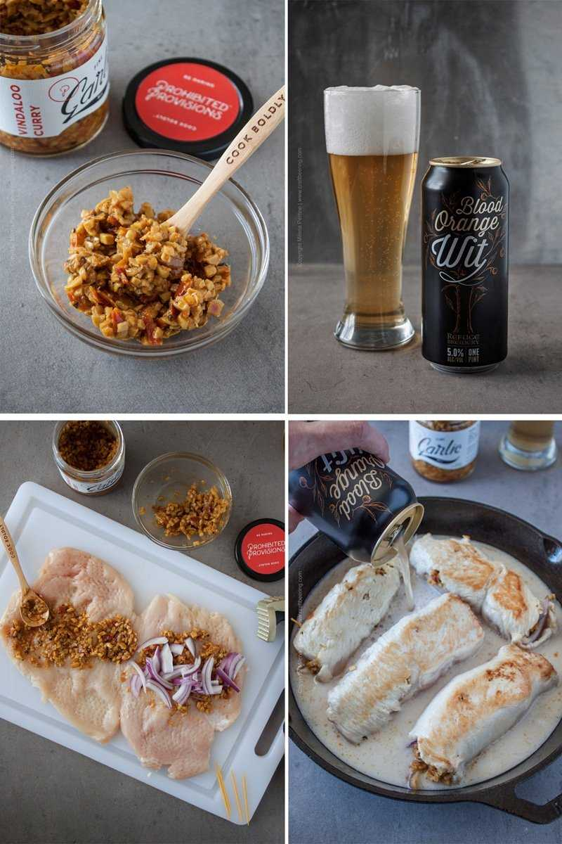 Beer Chicken Roulades - Steps. Choose a Belgian Wit and either buy Vindallo Curry Garlic or make your own similar concoction