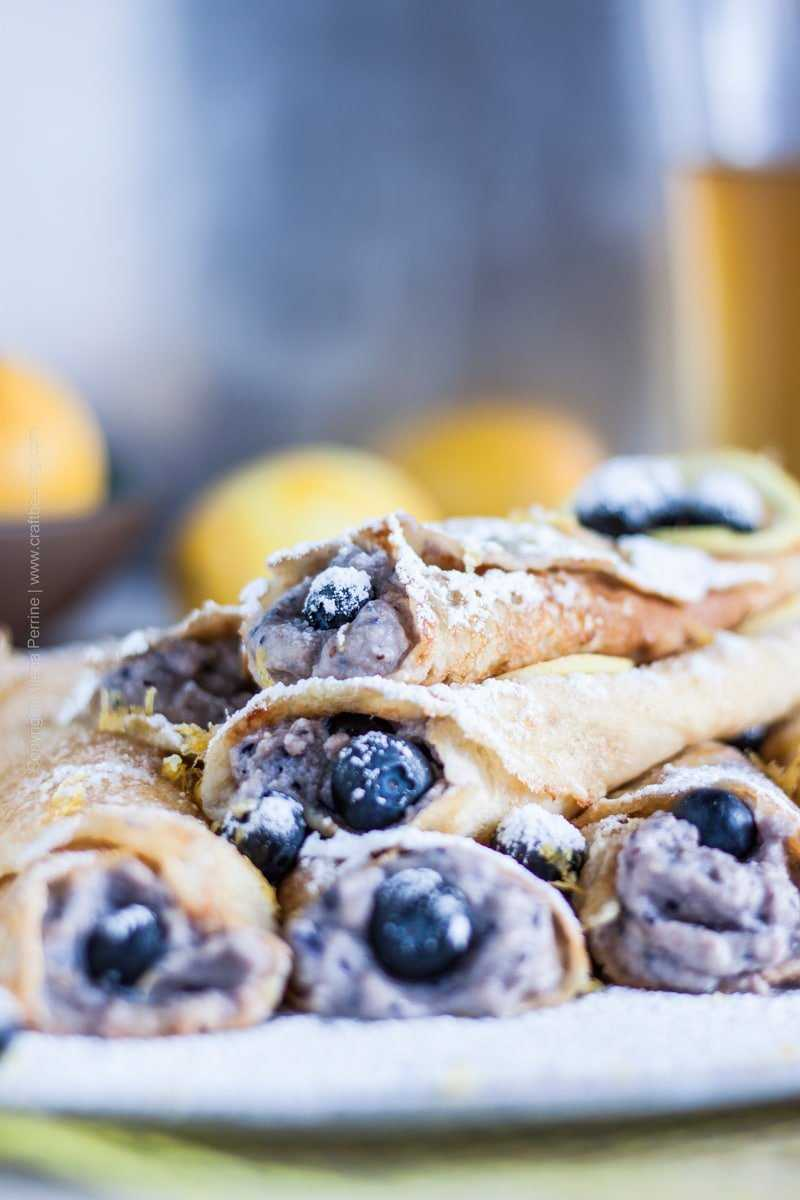 Hefeweizen beer crepes with beautiful lemony & banana notes, and ricotta, blueberries and lemon zest filling. #crepes #beercrepes #cookingwithbeer