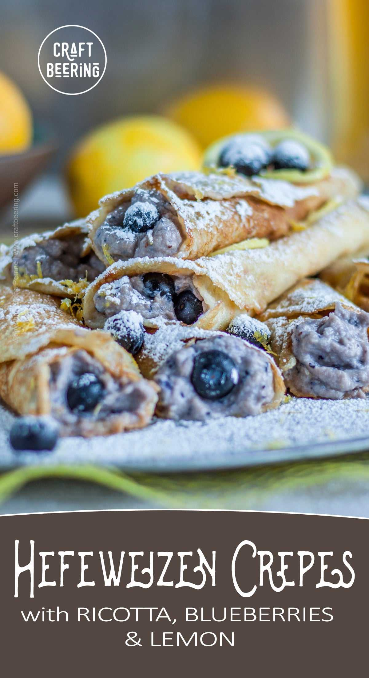 Beer crepes with Hefeweizen batter and ricotta, blueberries and lemon filling. #crepes #beercrepes #beerbatter #cookingwithbeer #crepebatter #crepesrecipe
