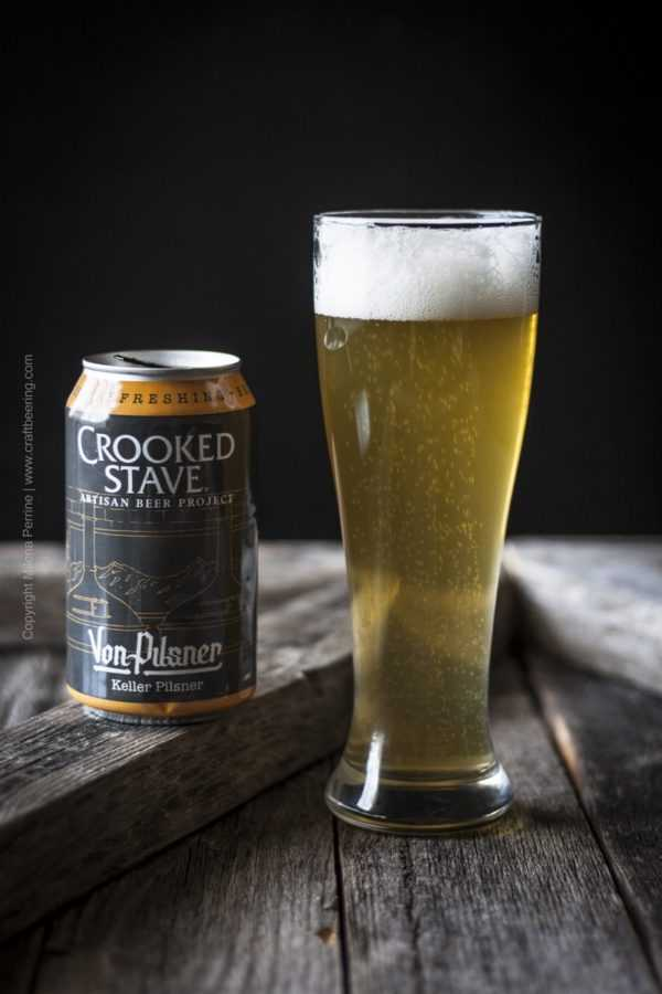 Crooked Stave Von Pilsner glass and can. A great brew to use in beer potato risotto, or regular risotto in the stead of acidic white wine.
