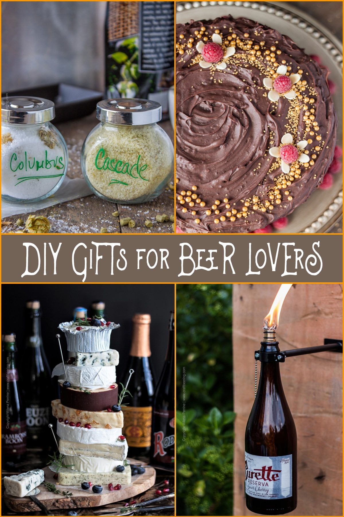 DIY Gifts for Beer Lovers | Beer themed gifts you can make that they will love! Beer cake, beer bottle tiki torch, beer and cheese pairing, hops salt PLUS MORE! #beergift #beergiftidea #fathersdaygift #birthdaygift
