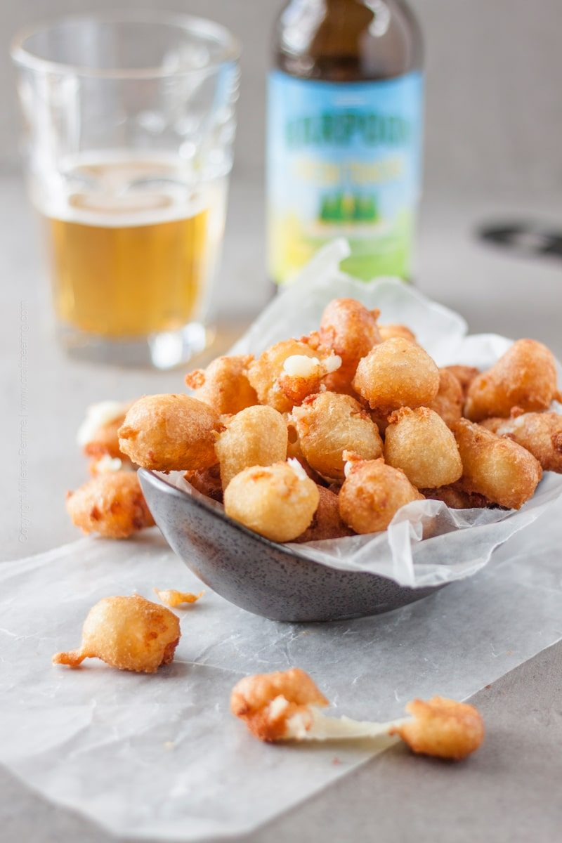 Crispy and chewy fried cheese curds, beer battered for extra flavor. Beer garden food or game day food, you decide. #friedcheesecurds #cheesecurds #beerbattered #beerbatterecipe