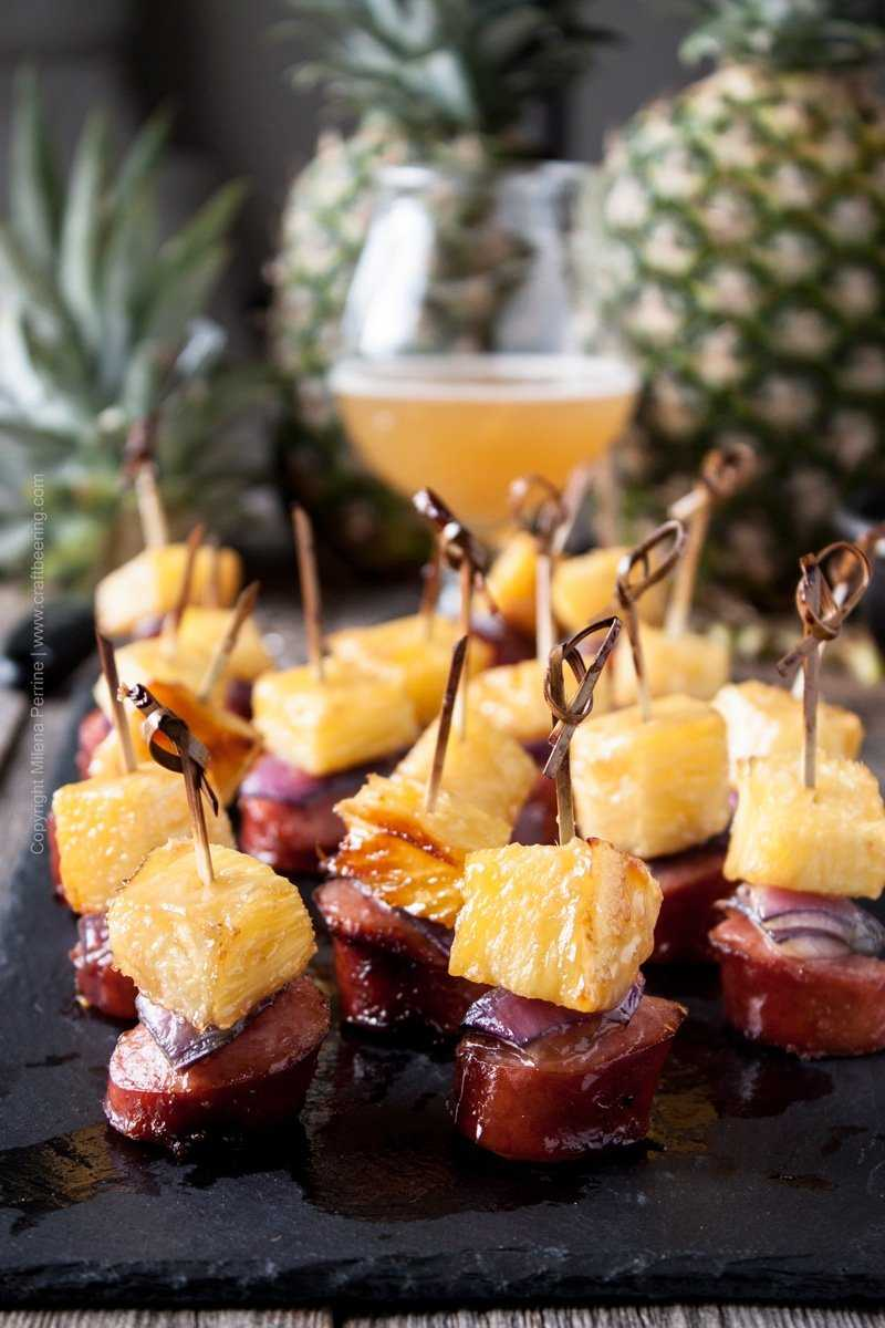 Caramelized pineapple sausage bite sized skewer. Brown sugar and IPA glazed. #pineappleskewer #pineapplesausage