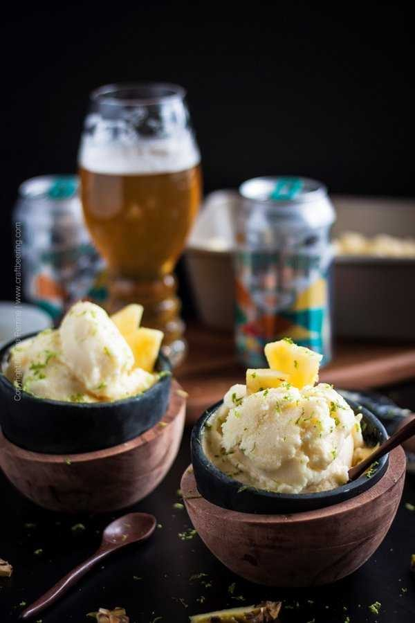 Pineapple Sherbet. Pineapple sorbet with Pineapple IPA and pineapple and lime zest garnish.