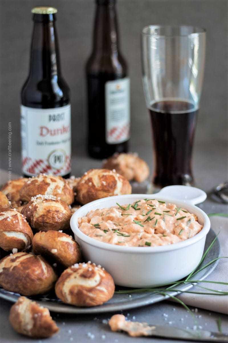 Obatzda dip | Bavarian beer cheese dip is indispensable beer garden menu and an Oktoberfest food favorite.