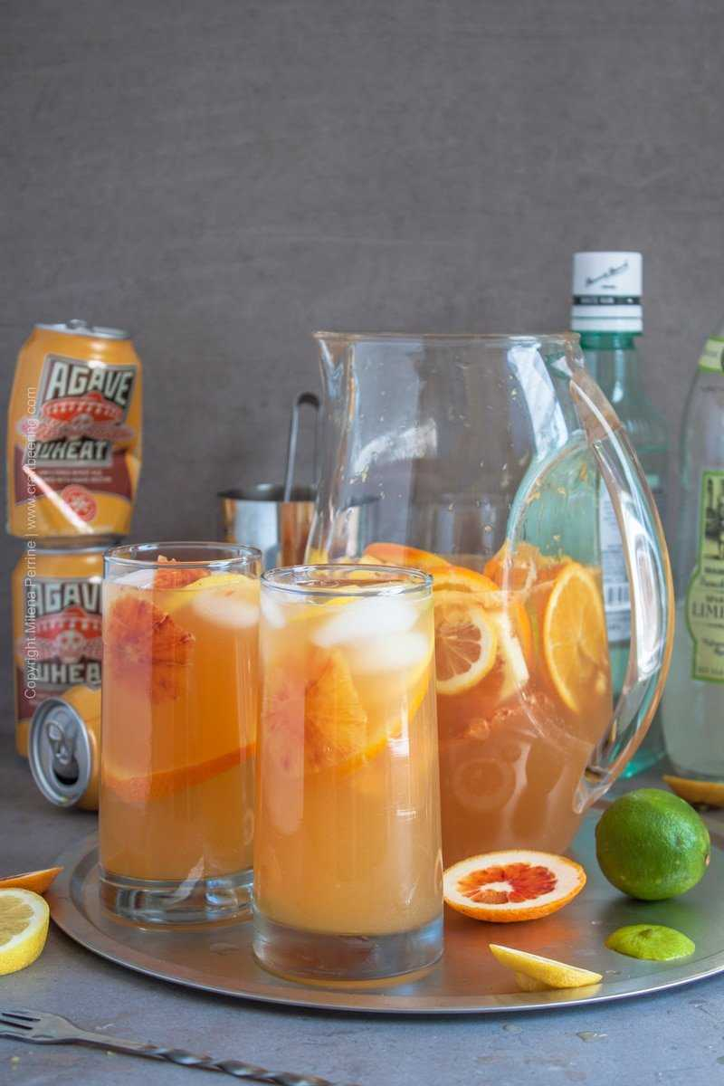 White sangria recipe - use wheat beer or white wine and vary the fruit according to the choice of beer style or wine varietal.