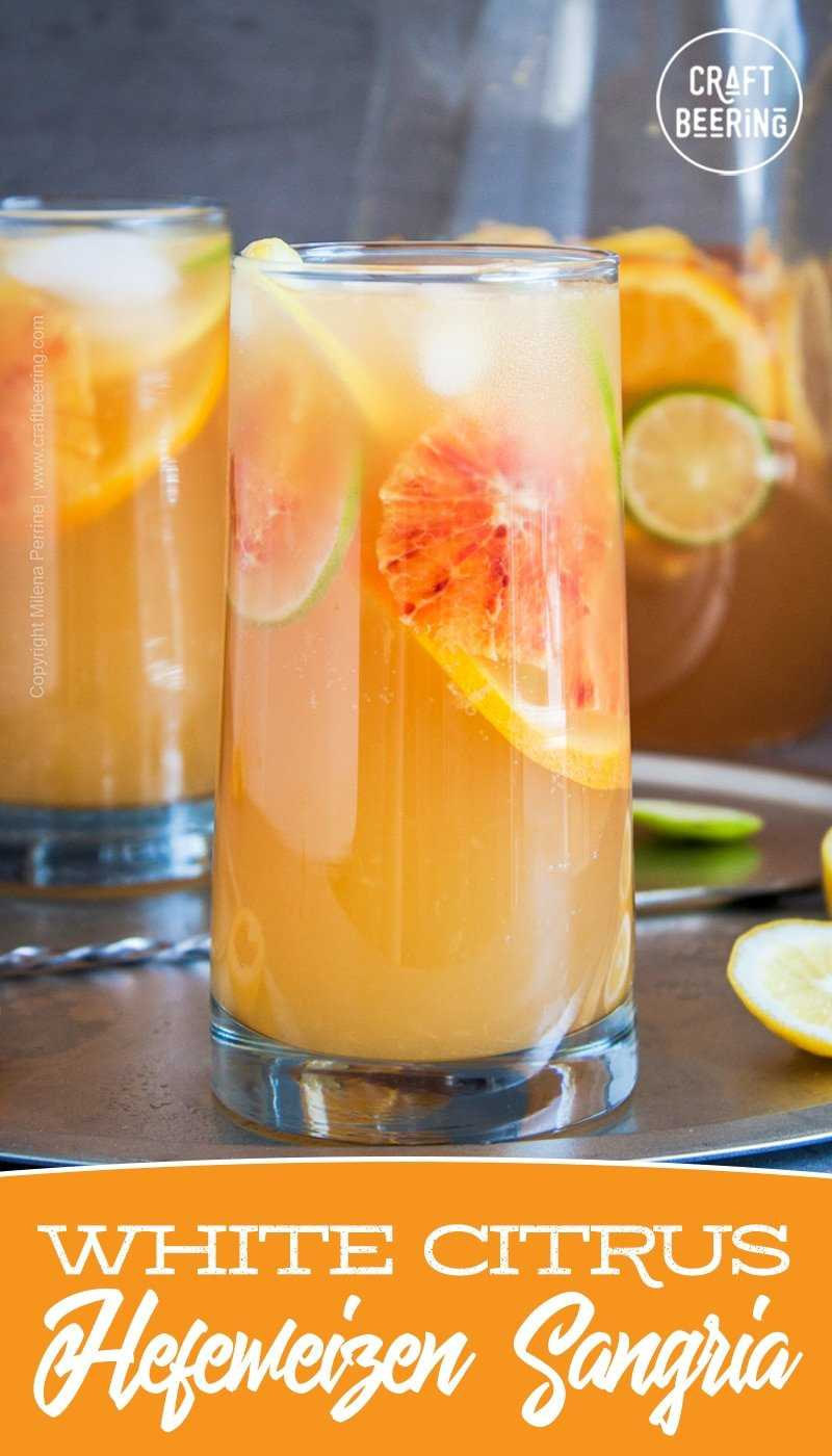 White Sangria | A versatile recipe - use hefeweizen or another wheat beer or a suitable white wine varietal. Vary sangria fruit to suit to flavor profile of the alcohol of choice. White rum or vodka recommended. #whitesangria #wheatsangria #whitewinesangria #sangriawithrum #citrussangira #beercocktail