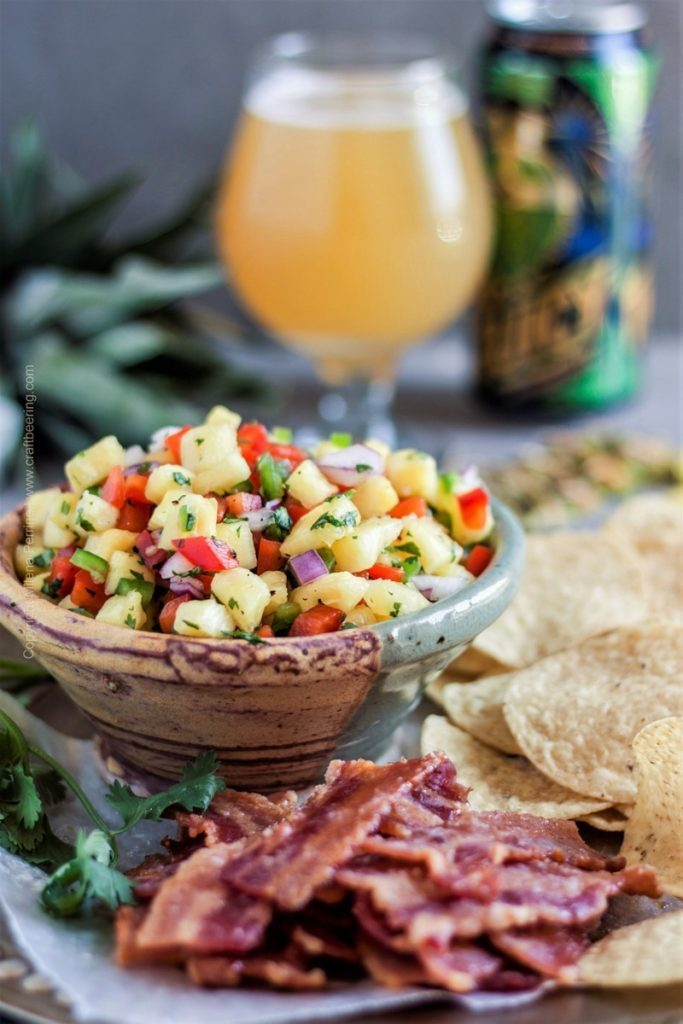 Pineapple Salsa (with Candied Bacon Chips & Juicy IPA)