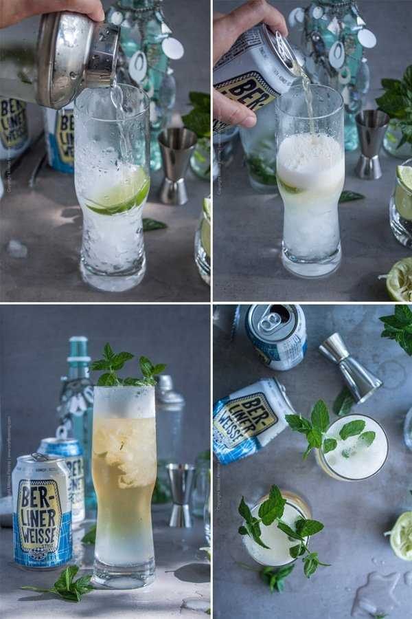Image grid for mixing the mojito mixed ingredients and adding the Berliner Weisse beer.