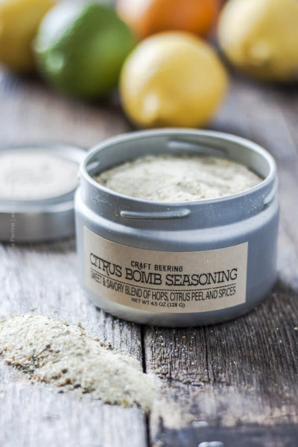 Citrus Bomb Seasoning with lid open and showing contents