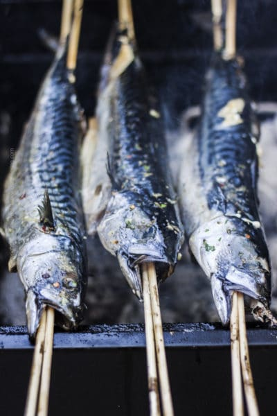 Steckerlfisch aka grilled fish on a stick is a well loved Bavarian beer garden specialty. It is also an Oktoberfest dish.