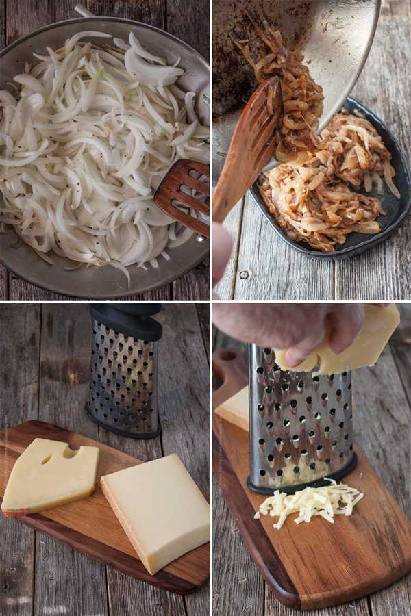 Steps to make Kasespatzle. Saute onions and grate cheese first.