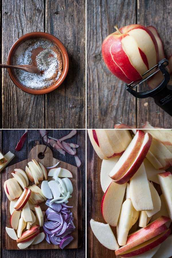 Mix the spice rub for the pork and slice the apples and onions