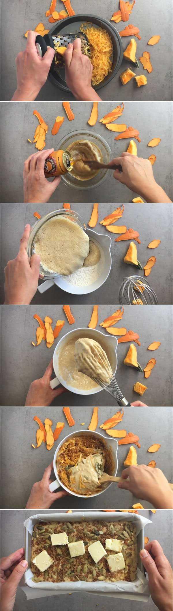 Step by step image grid for pumpkin loaf.